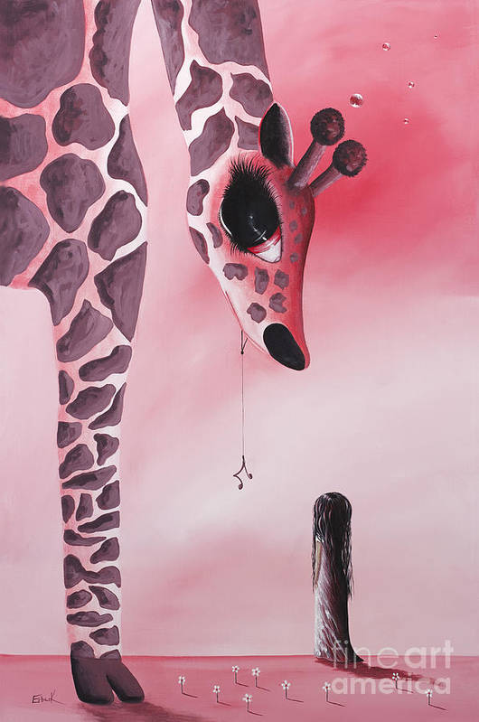 Giraffe Print featuring the painting The Wish That Came True By Shawna Erback by Shawna Erback