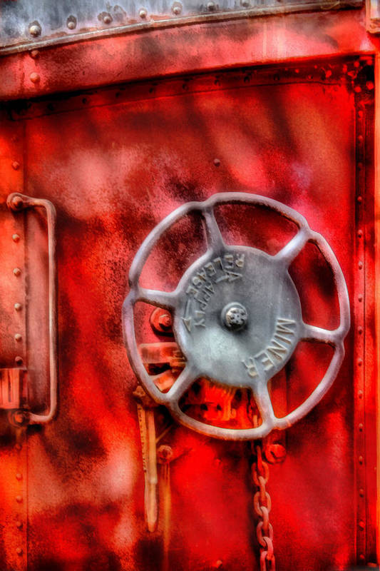 Savad Print featuring the photograph Train - Car - The Wheel by Mike Savad