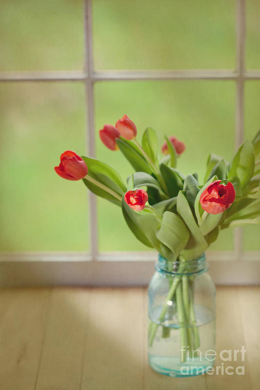 Tulips Print featuring the photograph Tulips In Mason Jar by Kay Pickens