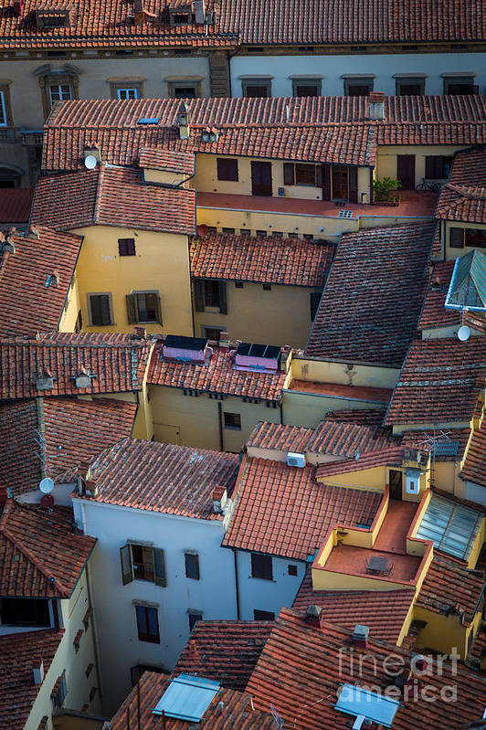 Europe Print featuring the photograph Tuscan Rooftops by Inge Johnsson