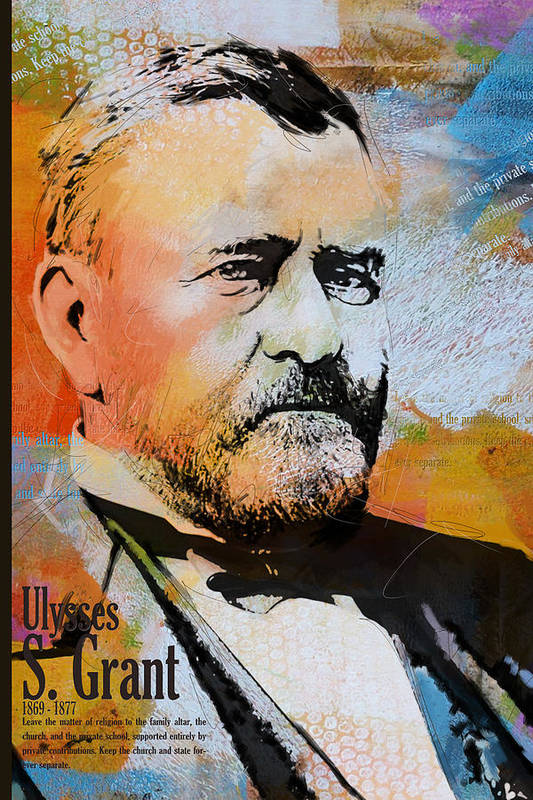 Ulysses S. Grant Print featuring the painting Ulysses S. Grant by Corporate Art Task Force