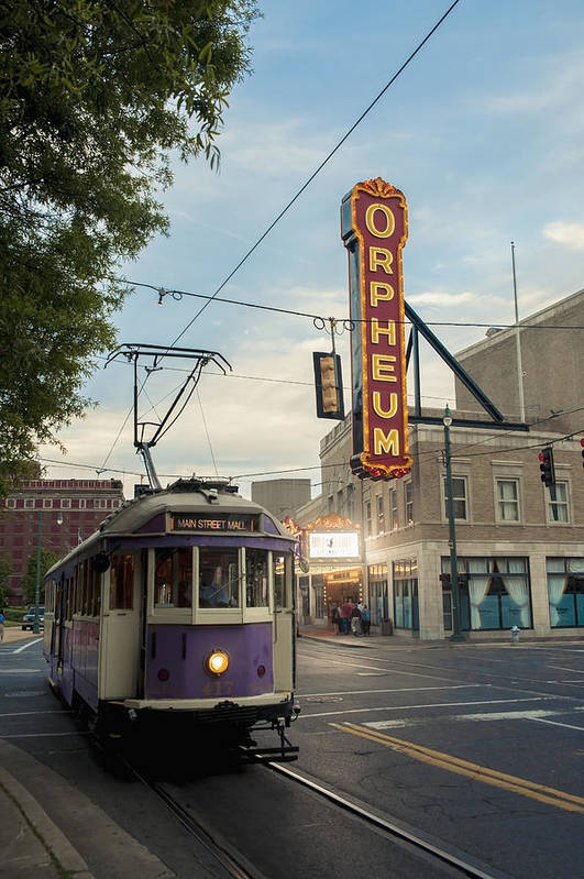 Transportation Print featuring the photograph Usa, Tennessee, Vintage Streetcar by Dosfotos