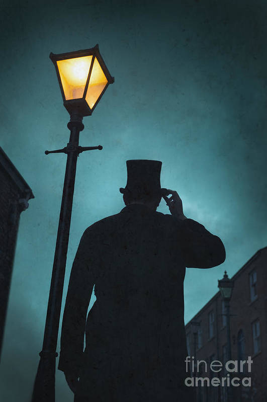 Victorian Print featuring the photograph Victorian Man With Top Hat Under A Gas Lamp by Lee Avison