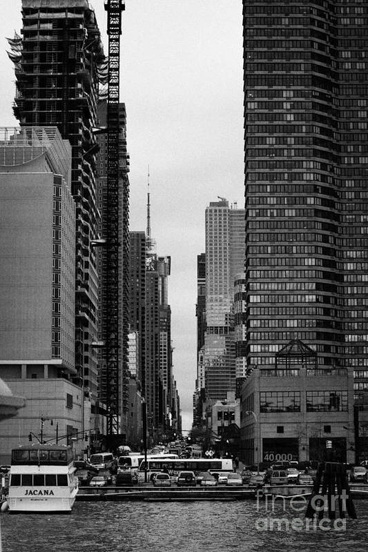 Usa Print featuring the photograph View Up West 42nd Street From The Hudson River New York City by Joe Fox