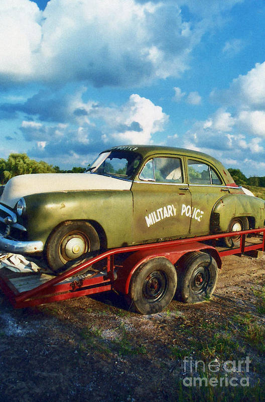 Military Police Car Print featuring the photograph Vintage American Military Police Car by Kathy Fornal