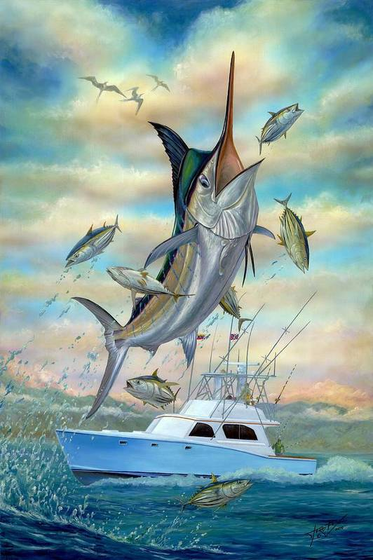 Blue Marlin Print featuring the painting Waterman by Terry Fox