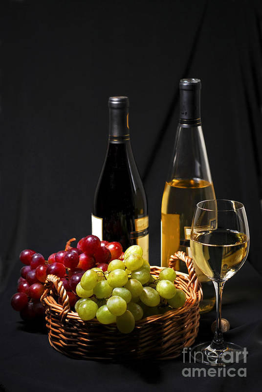 Wine Print featuring the photograph Wine And Grapes by Elena Elisseeva