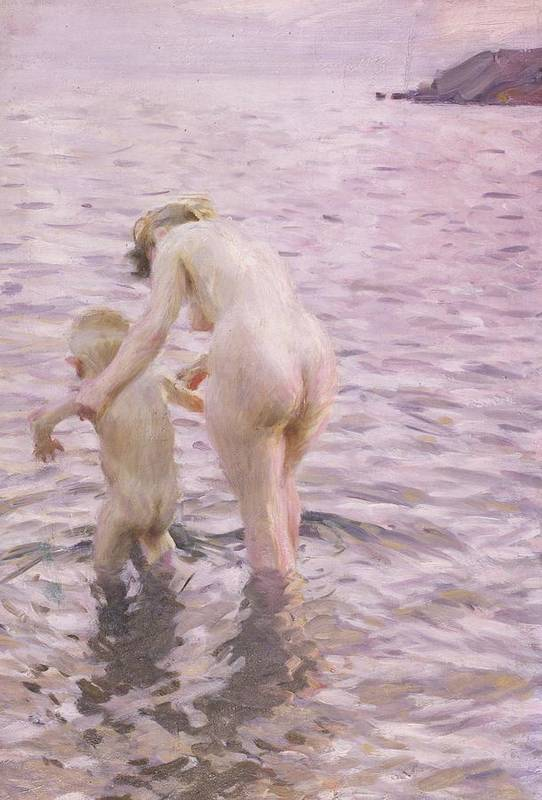 Mother; Child; Baby; Toddler; Female; Woman; Maternity; Maternal; Guiding; Leading; Nude; Naked; Seascape; Sea; Paddling Print featuring the painting With Mother by Anders Leonard Zorn