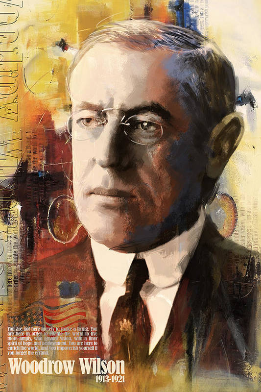 Woodrow Wilson Print featuring the painting Woodrow Wilson by Corporate Art Task Force