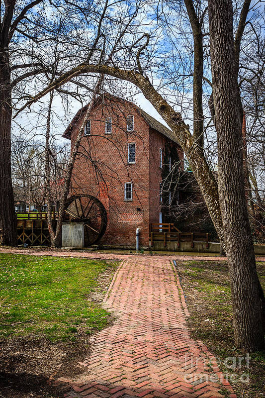 1800's Print featuring the photograph Wood's Grist Mill In Hobart Indiana by Paul Velgos