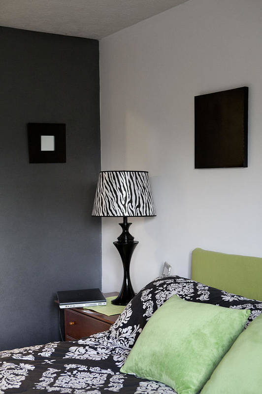 No People Print featuring the photograph A Bedroom In A House. A Double Bed by Christian Scully