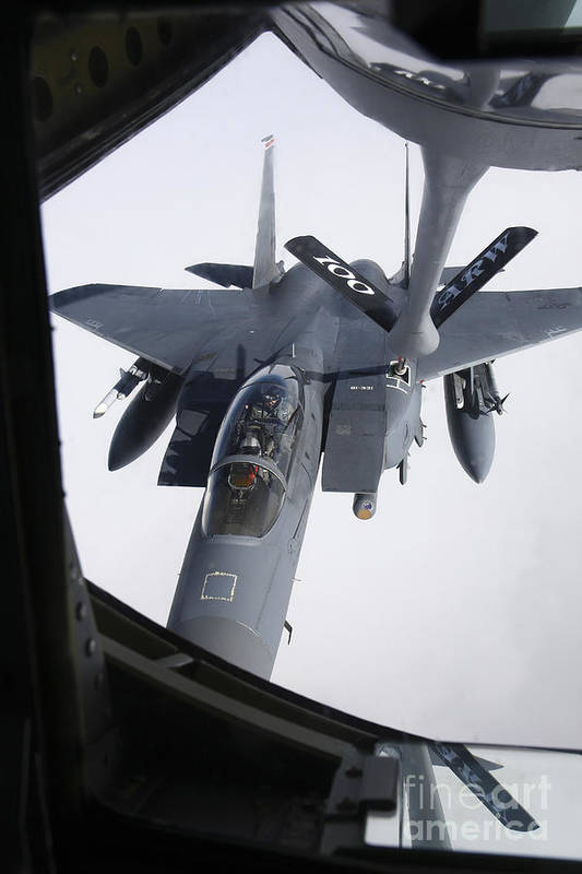 Transportation Print featuring the photograph Air Refueling A F-15e Strike Eagle by Daniel Karlsson