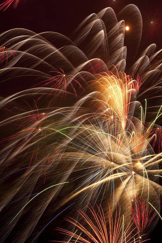 Fireworks 4th Of July Print featuring the photograph Fireworks In Night Sky by Garry Gay