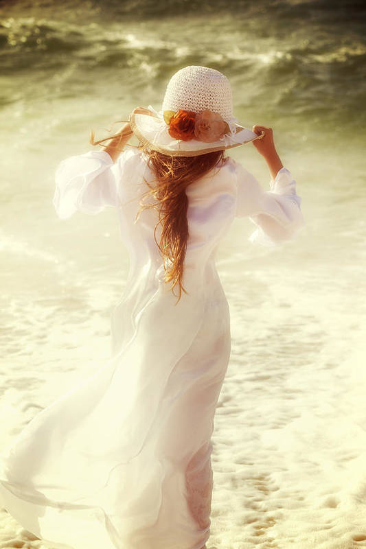 Girl Print featuring the photograph Girl With Sun Hat by Joana Kruse