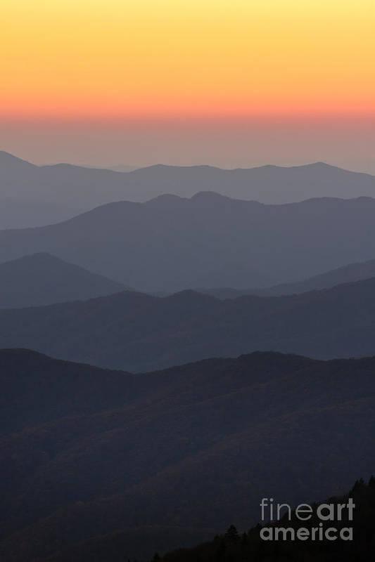 Great Smokie Mountains At Sunset Print featuring the photograph Great Smokie Mountains At Sunset by Dustin K Ryan
