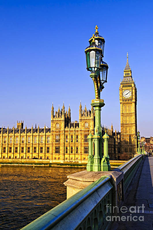 Palace Print featuring the photograph Palace Of Westminster From Bridge by Elena Elisseeva