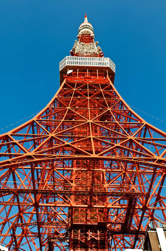Architecture Print featuring the photograph Tokyo Tower Faces Blue Sky by Ulrich Schade