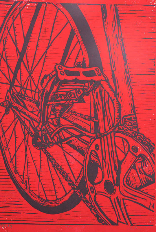 Bike Print featuring the drawing Bike 3 by William Cauthern