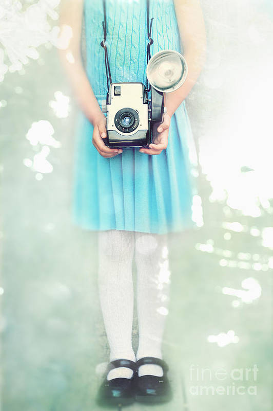 Carrying Print featuring the photograph A Girl And Her Camera by Stephanie Frey