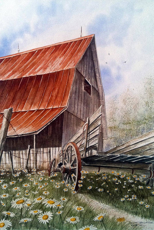 Barn Print featuring the painting A Time For Daiseys by Don F Bradford