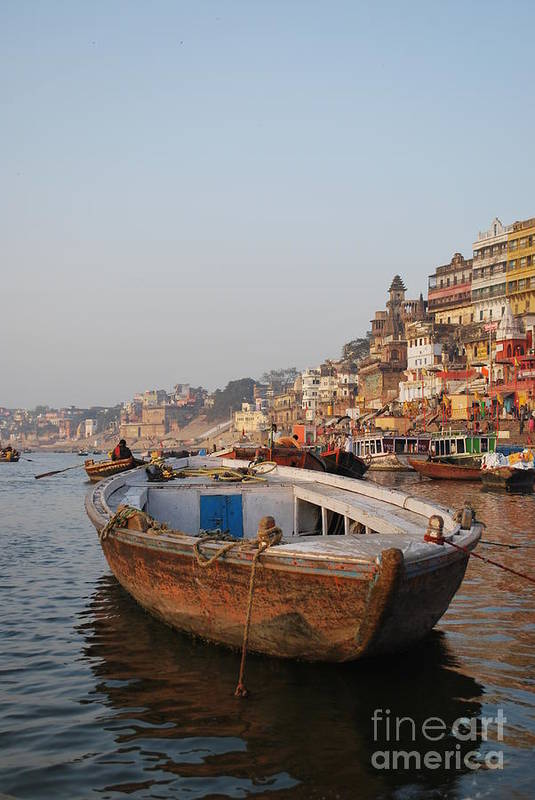 Varanasi Print featuring the photograph Alone On The Ganges by Jen Bodendorfer
