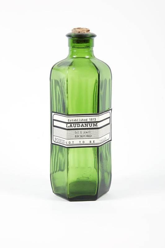 Bottle Print featuring the photograph Antique Laudanum Bottle by Gregory Davies, Medinet Photographics