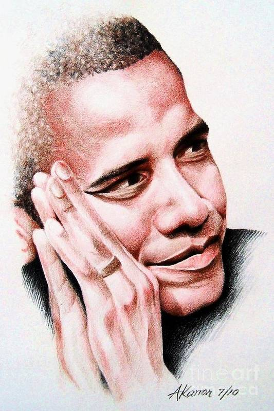 Portrait Print featuring the painting Barack Obama by A Karron