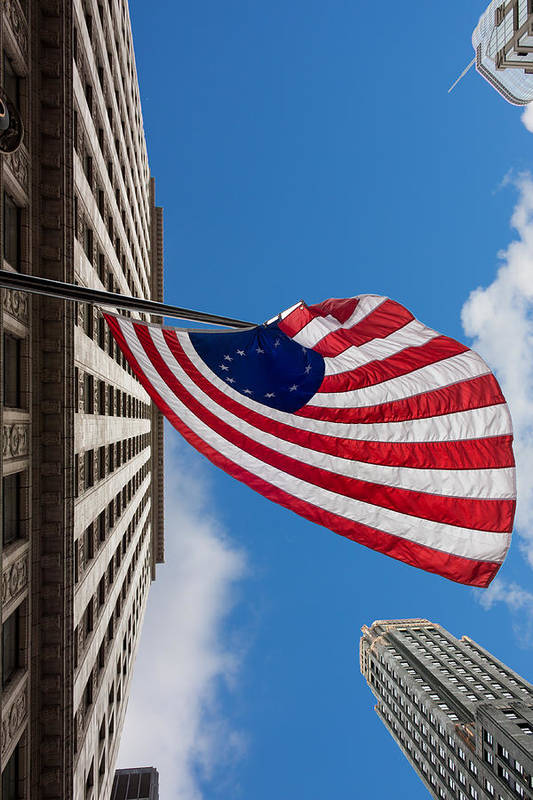 Banner Print featuring the photograph Betsy Ross Flag In Chicago by Semmick Photo