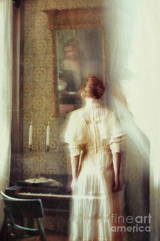 Atmosphere Print featuring the photograph Blurry Image Of A Woman In Vintage Dress by Sandra Cunningham