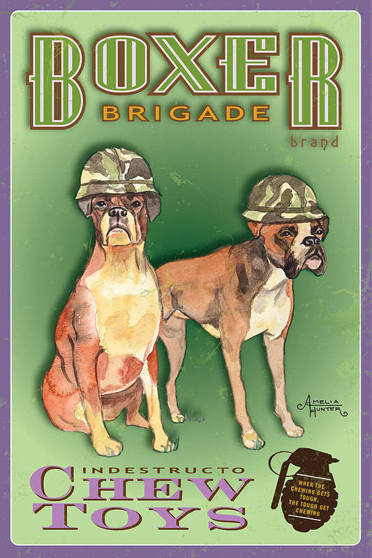Boxer Art Print featuring the pastel Boxer Brigade Chew Toys by Amelia Hunter