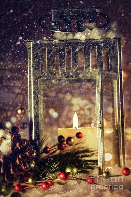 Background; Burn; Candle; Christmas; Cold; Color; Decoration; Evening; Fire; Glass; Holiday; Ice; Lamp; Lantern; Light; New; Night; Red; Season; Snow; Warm; Winter; Xmas; Year; Yellow; Santa; Claus; Snowy; Print featuring the photograph Brightly Lit Lantern In The Snow by Sandra Cunningham