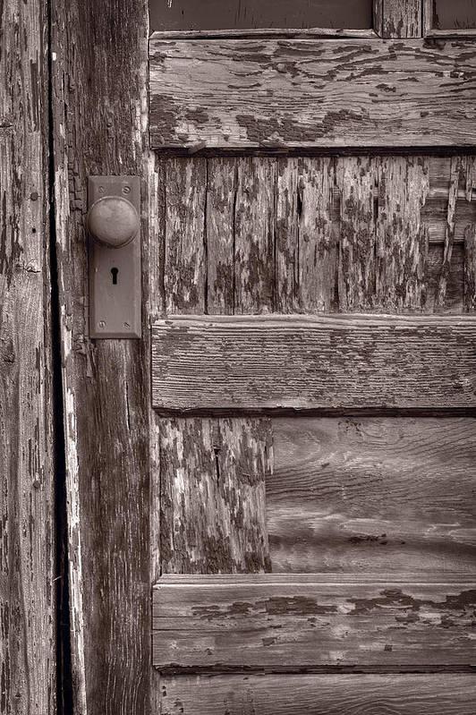 Door Print featuring the photograph Cabin Door Bw by Steve Gadomski