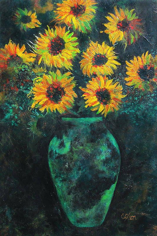 Sunflower Print featuring the painting Darkened Sun by Carrie Jackson