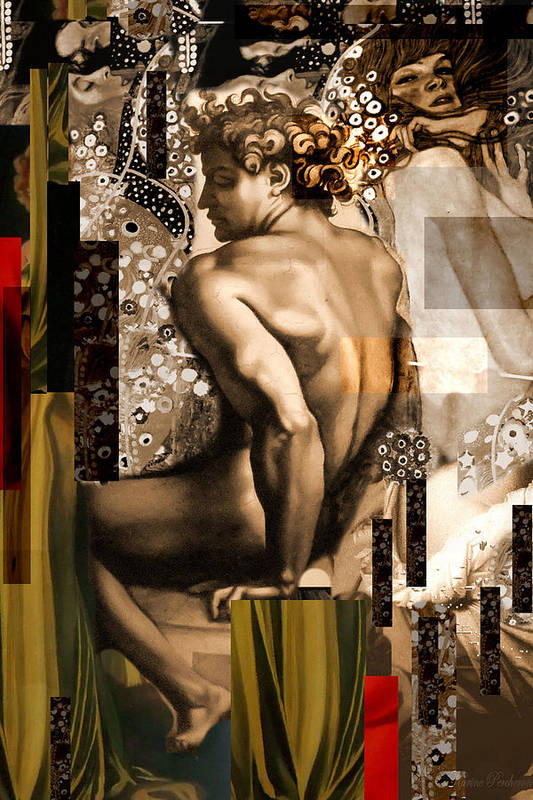 David Print featuring the painting David Et Julie by Karine Percheron-Daniels