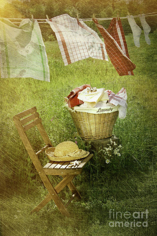 Basket Print featuring the photograph Distressed Photo Of Wash Day by Sandra Cunningham