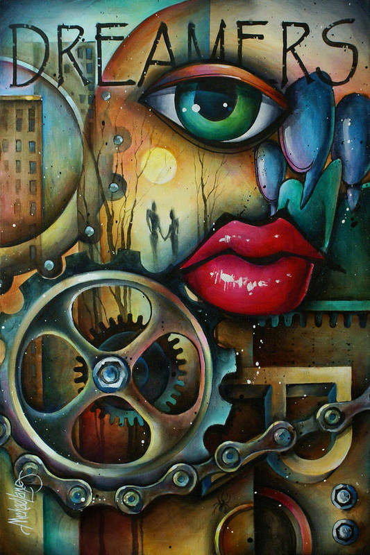 Urban Expressions Print featuring the painting Dreamers 3 by Michael Lang