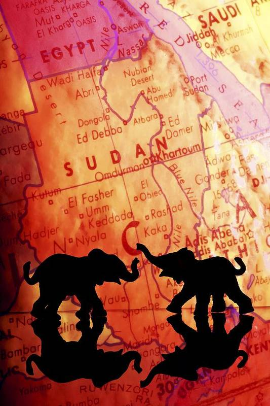 Africa Print featuring the photograph Elephant Silhouettes In Front Of A Map by Chris Knorr