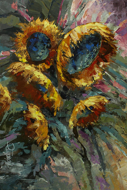 Floral Print featuring the painting 'follow The Sun 2' by Michael Lang