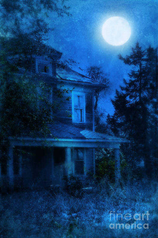 House Print featuring the photograph Haunted House Full Moon by Jill Battaglia