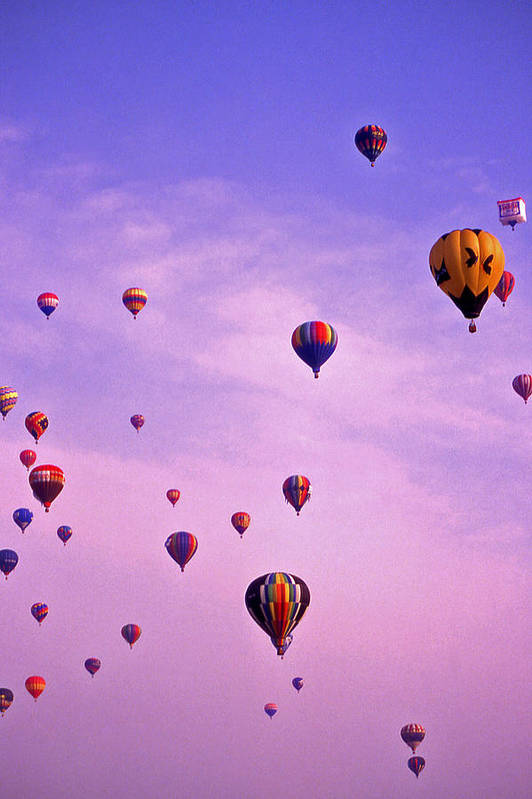 Hot Air Print featuring the photograph Hot Air Balloon Race - 1 by Randy Muir