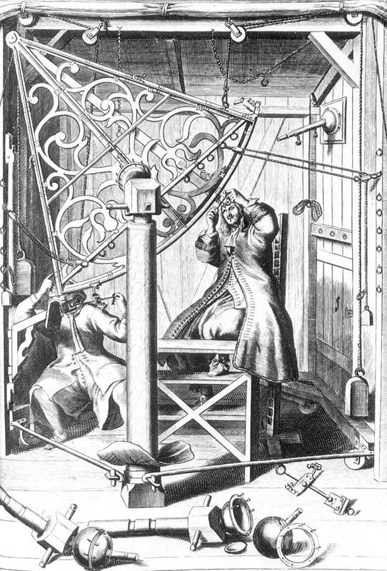 Science Print featuring the photograph Johannes Hevelius And His Assistant by Science Source