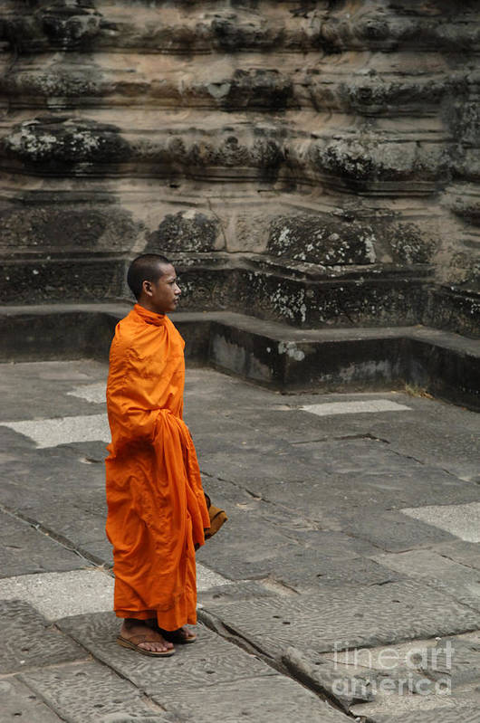 Travel Print featuring the photograph Monk At Ankor Wat by Bob Christopher