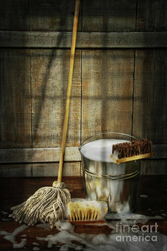 Antique Print featuring the photograph Mop With Bucket And Scrub Brushes by Sandra Cunningham