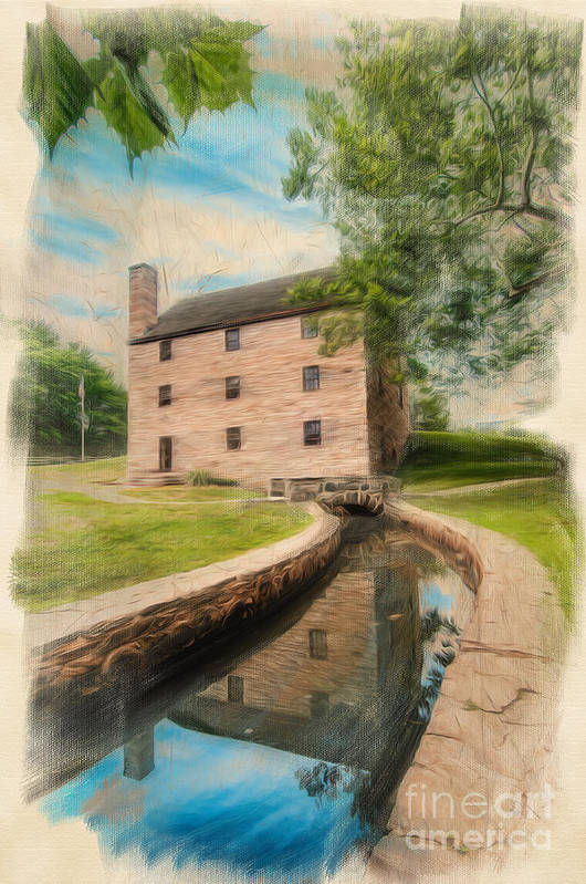 George Washington Print featuring the digital art Mt. Vernon Gristmill Art by Jim Moore