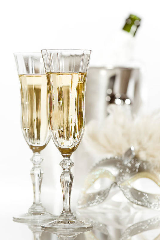 Champagne Print featuring the photograph New Year Champagne by Amanda Elwell