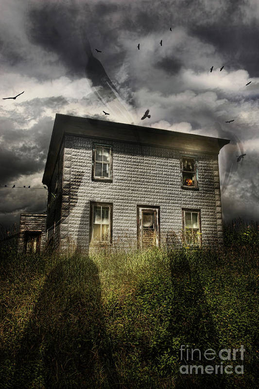 Aged Print featuring the photograph Old Ababdoned House With Flying Ghosts by Sandra Cunningham
