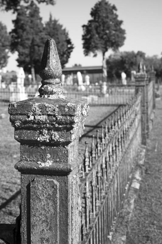 Graveyard Print featuring the photograph Old Graveyard Fence In Black And White by Kathy Clark