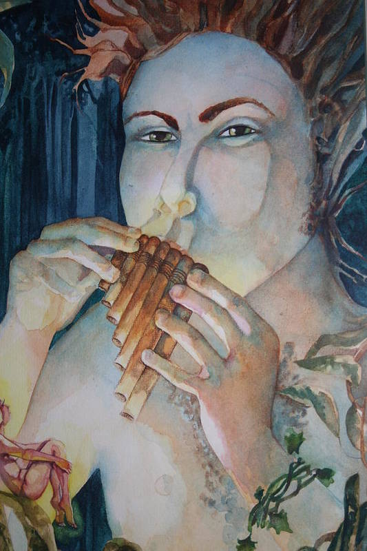 Pan Flute Fife Fairy Mid Summer Nights Dream Print featuring the drawing Pan 2 by Jackie Rock
