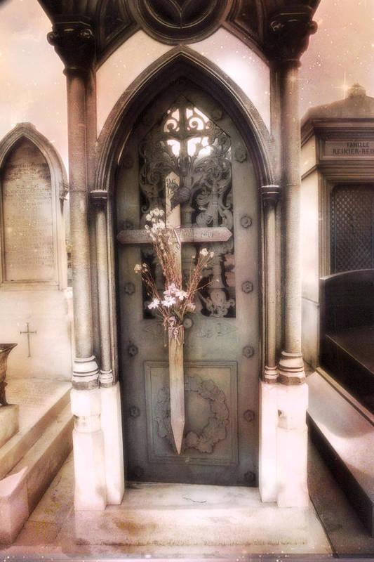 Paris Dreamy Fine Art Print featuring the photograph Pere La Chaise Cemetery Ornate Mausoleum by Kathy Fornal