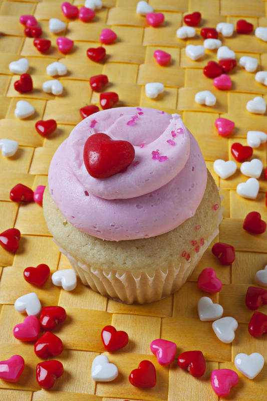 Cupcake Print featuring the photograph Pink Cupcake With Candy Hearts by Garry Gay